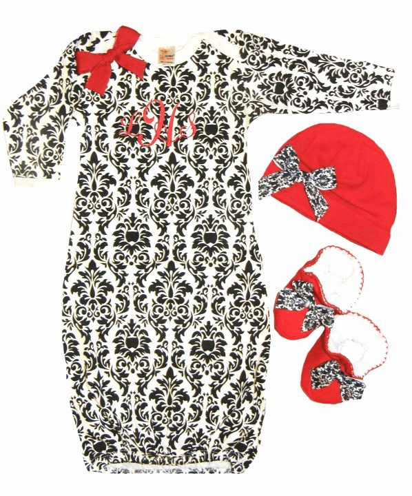 Personalized Damask Infant Baby Gown, Booties & Hat Set