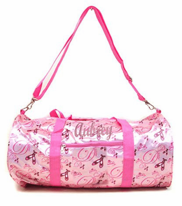 PERSONALIZED Dance Ballet Print Duffel Pink Satin Gym Bag Tote