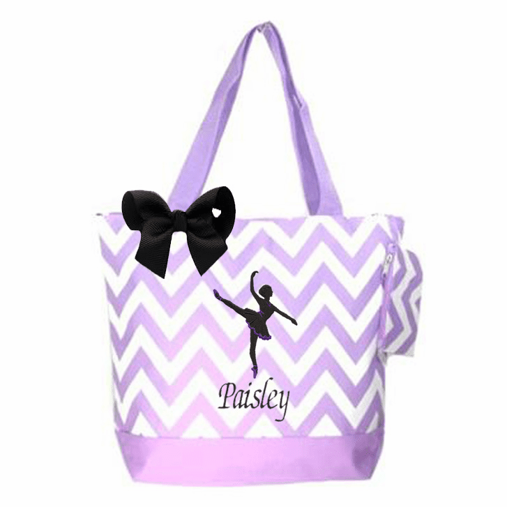 Personalized Dance Embroidered Lavender Chevron w/ Black Embroidered Design & Bow