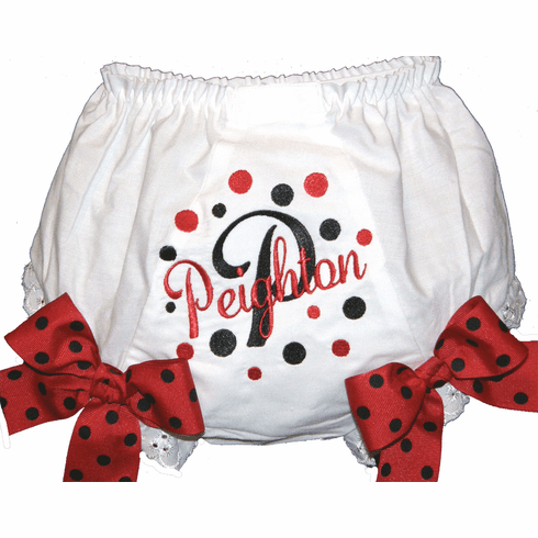 Personalized Diaper Cover Bloomers Black & Red Dots