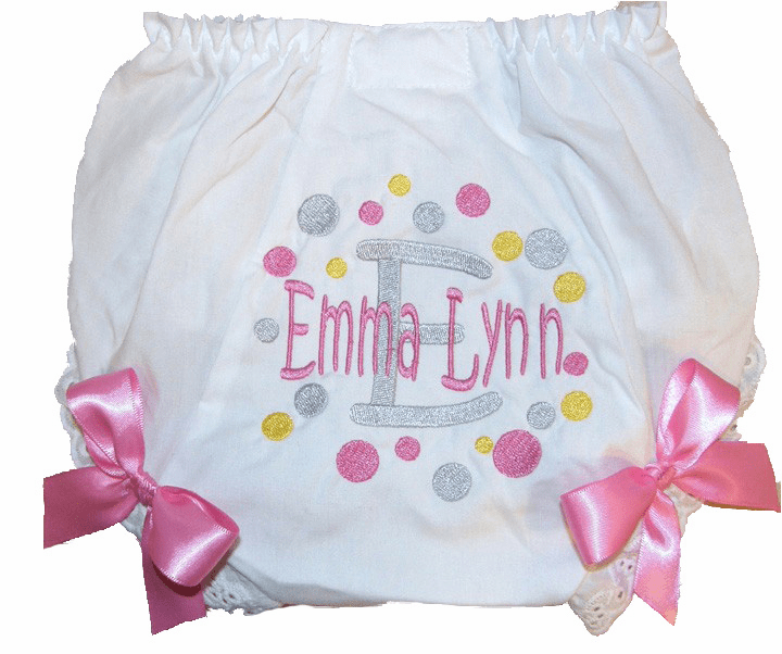 Personalized Diaper Cover Bloomers Gray-Pink-Yellow dots