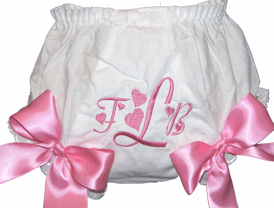 Personalized Diaper Cover Bloomers Hearts & Large Bows