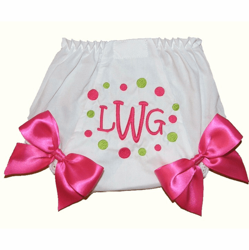 Personalized Diaper Cover Bloomers Hot Pink & Lime Dots