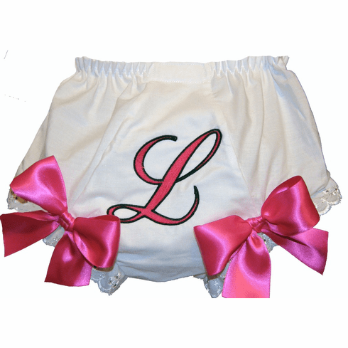 Personalized Diaper Cover Bloomers Large Initial Hot Pink & Black