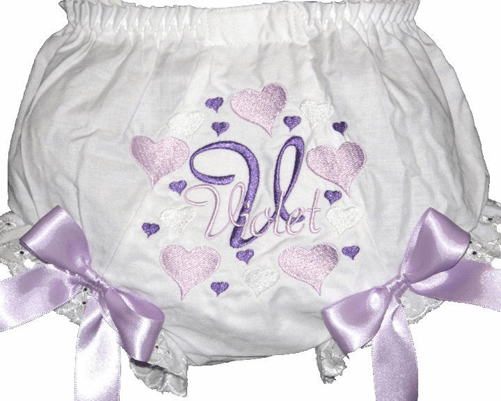 Personalized Diaper Cover Bloomers Lavender & Purple Hearts