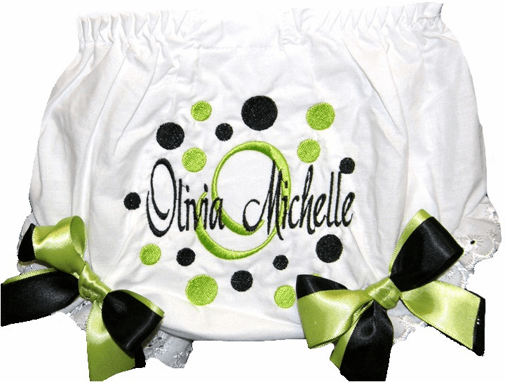 Personalized Diaper Cover Bloomers Lime & Black Dots