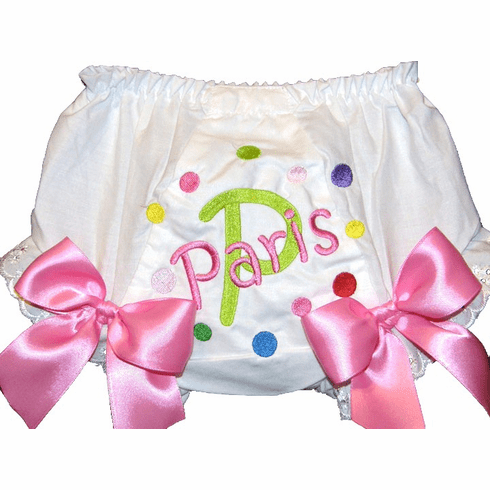 Personalized Diaper Cover Bloomers Multi Color Little Dots