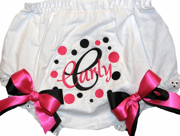 Personalized Diaper Cover Bloomers Panties Black & Hot Pink Dots