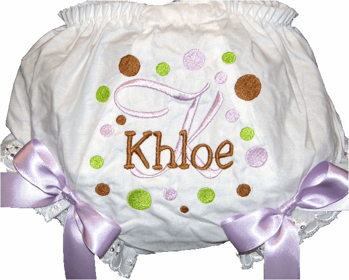 Personalized Diaper Cover Bloomers Panties Brown, Lavender & Lime Dots