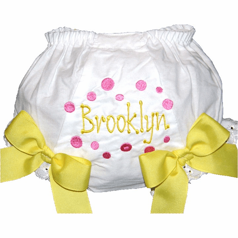 Personalized Diaper Cover Bloomers Panties Hot Pink Dots & Yellow Bows