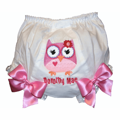 Personalized Diaper Cover Bloomers Pink Owl