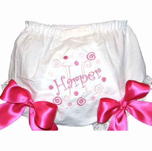 Personalized Diaper Cover Bloomers Pinks Swirls & Stars