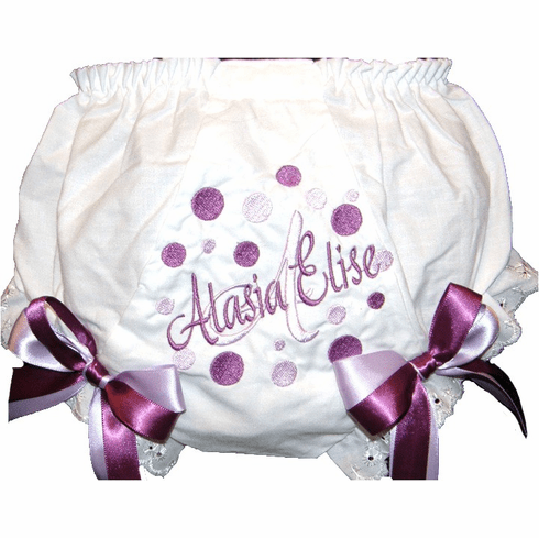 Personalized Diaper Cover Bloomers Purple & Lavender Dots