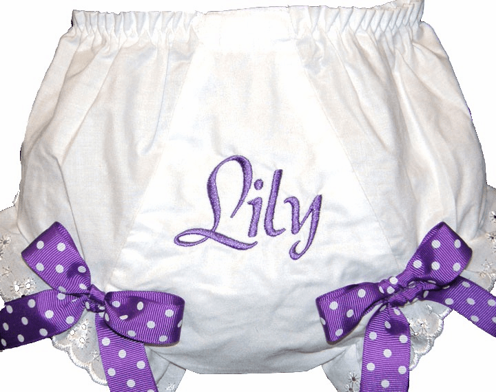 Personalized Diaper Cover Bloomers Purple Name Purple Dot Bows