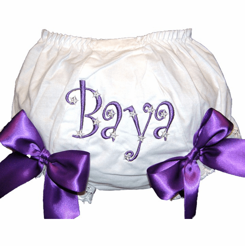 Personalized Diaper Cover Bloomers Purple Stars