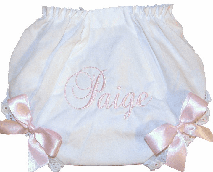 Personalized Diaper Cover Bloomers Script Name Light Baby Pink