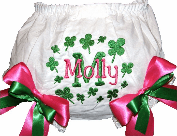 Personalized Diaper Cover Bloomers Shamrocks Clovers & Hot Pink