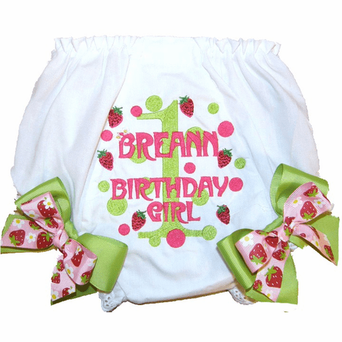 Personalized Diaper Cover Bloomers Strawberries