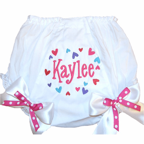 Personalized Diaper Cover Bloomers Sweethearts Design