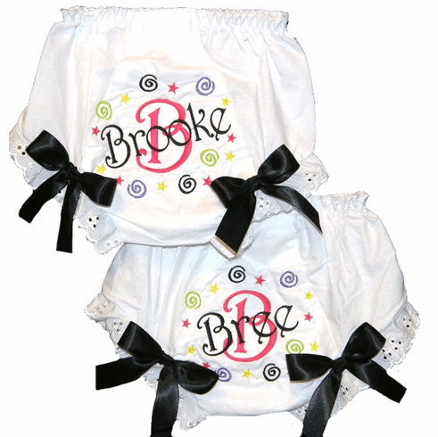 Personalized Diaper Cover Bloomers Black Swirls & Stars