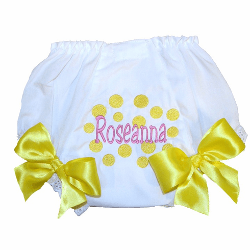 Personalized Diaper Cover Bloomers-Yellow Dots