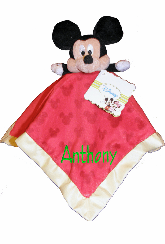 Personalized Disney Babies Security Blanket Blue Mickey Mouse with Rattle