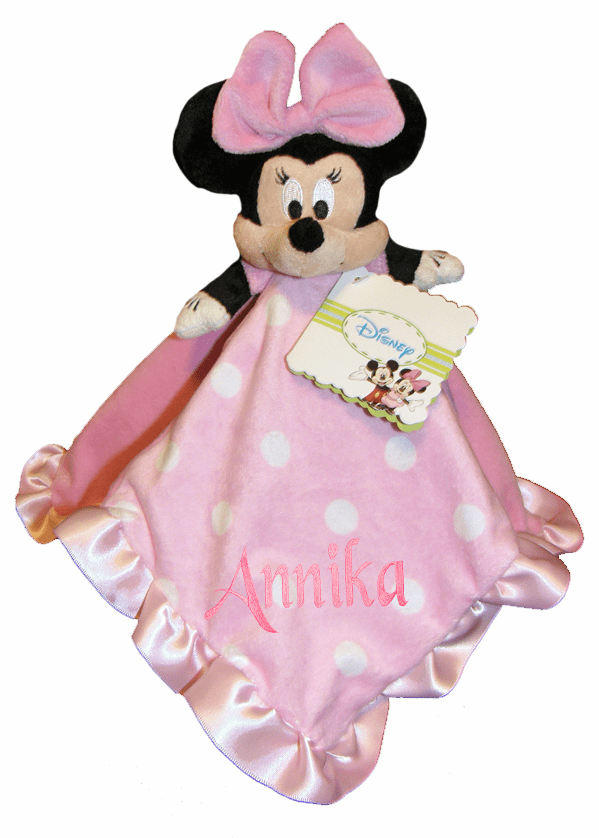 Personalized Disney Babies Security Blanket Pink Minnie Mouse