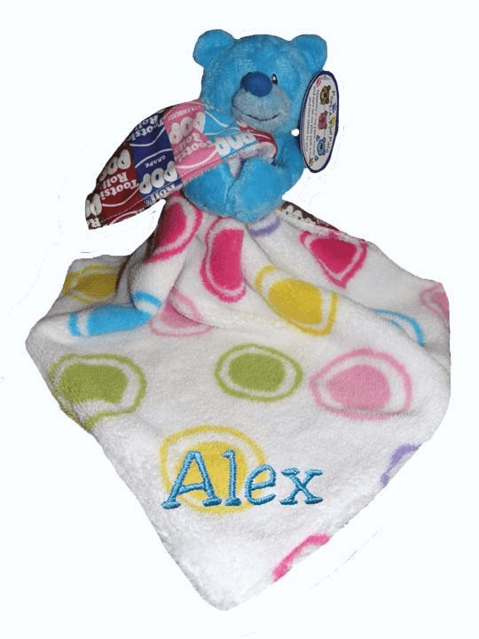 Personalized Dots & Tootsie Roll Fun Colorful Snugglie Blanket & Blue Peek-a-Boo Plush