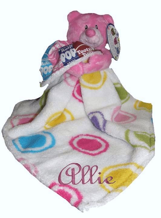 Personalized Dots & Tootsie Roll Fun Colorful Snugglie Blanket & Pink Peek-a-Boo Plush