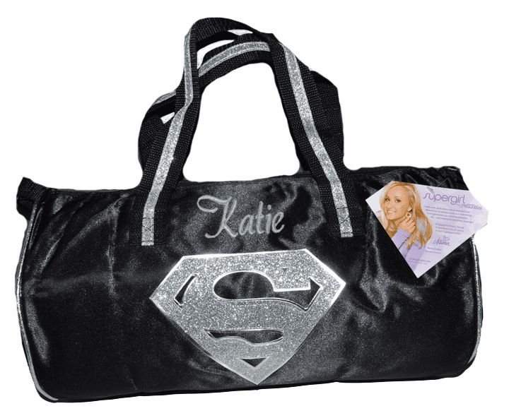 PERSONALIZED Duffel Gymnastics Dance Black Satin Silver Sparkly Supergirl Logo