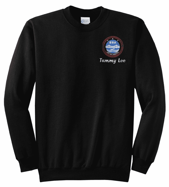 Personalized EBA Adult Size Black Crewneck Pullover Sweatshirt PC78