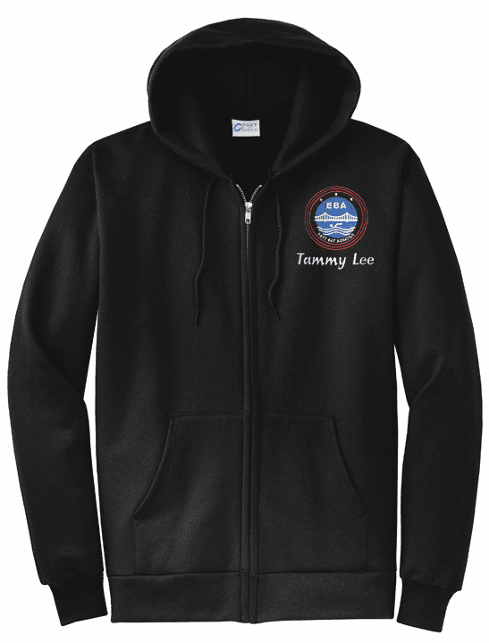Personalized EBA Adult Size Black Full-Zip Hooded Sweatshirt PC78ZH