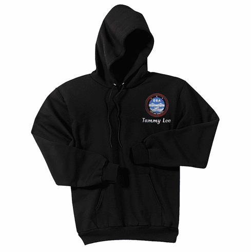 Personalized EBA Adult Size Black Hooded Pullover Sweatshirt PC78H