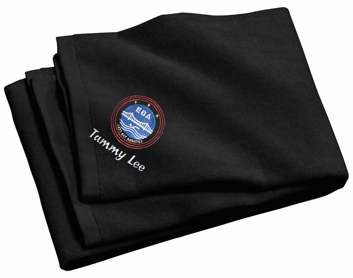 Personalized EBA Black Beach Towel