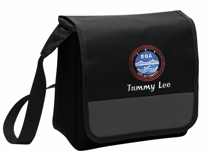 Personalized EBA Black Lunch Cooler Messenger Tote