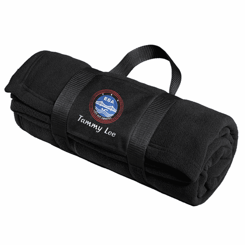Personalized EBA Black Roll-Up Blanket & Carrying Strap
