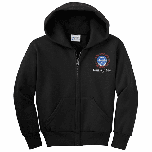 Personalized EBA Youth Black Full-Zip Hooded Sweatshirt PC90YZH
