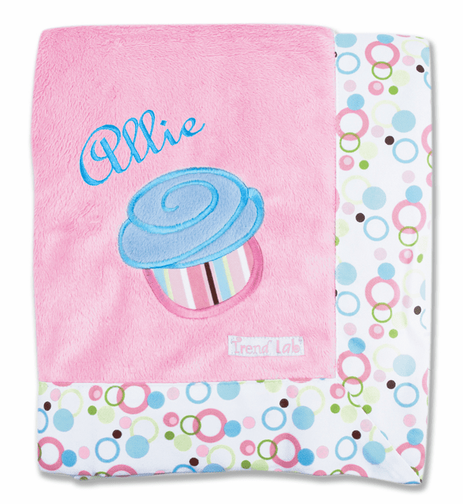 Personalized Embroidered Baby Blanket Pink & Blue Cupcake Design
