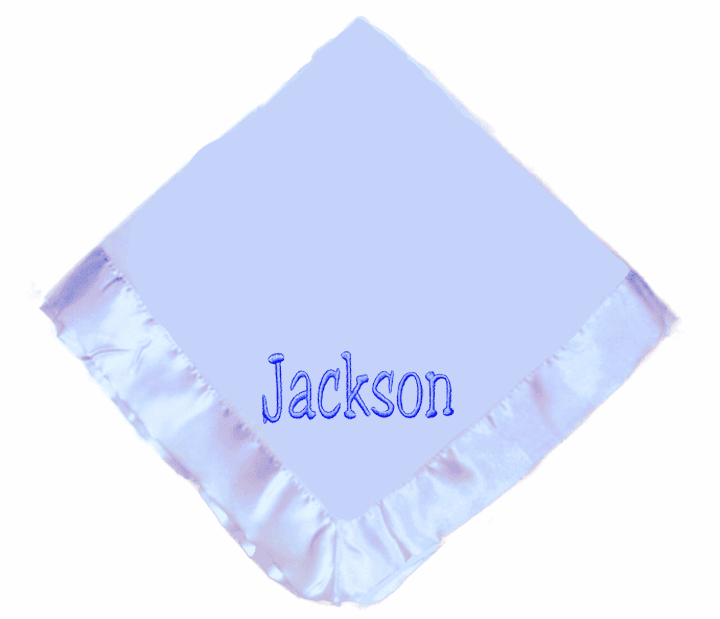 Personalized Embroidered Baby Infant Blanket Pink or Blue Satin Trimmed Fleece