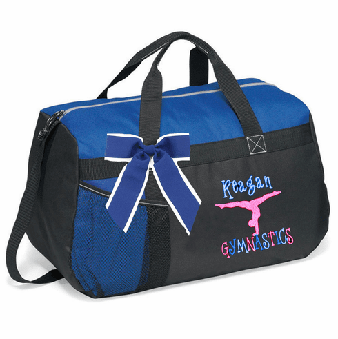 Personalized Embroidered Black & Blue Color Black Duffel Bag w/Bow Gymnastics