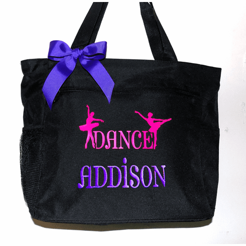 Personalized Embroidered Black Dance Tote with Embroidered Name & Matching Bow 6 color choices