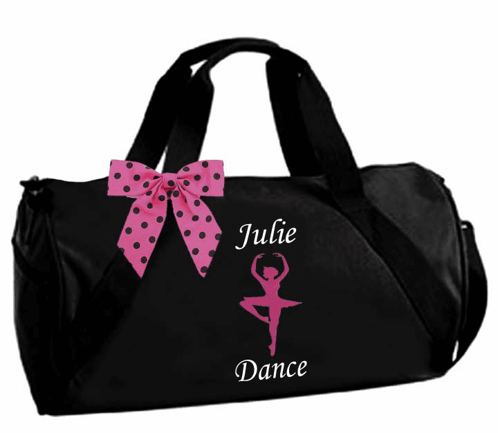 Personalized Embroidered Black Duffel Ballet Dancer with Crown Design