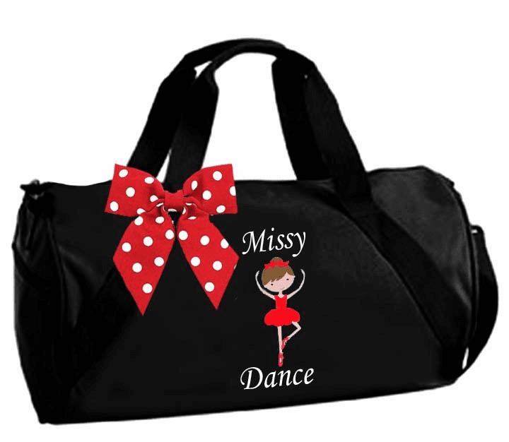 Personalized Embroidered Black Duffel Dance Custom Dancer Option