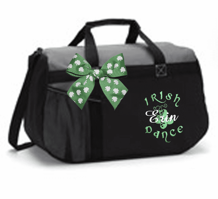 Personalized Embroidered Black & Grey Irish Step Dance Duffel Bag w/Bow