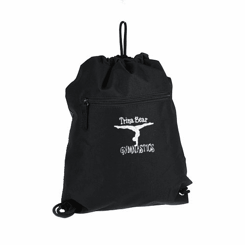 Personalized Embroidered Black Gymnastics Cinch Pack Backpack