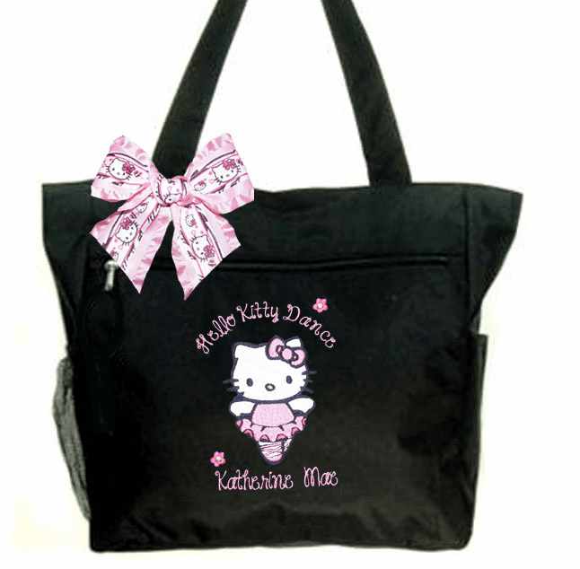 Personalized Embroidered Black Hello Kitty Dance Tote with Adorable Hello Kitty Bow