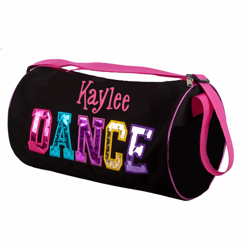 Personalized Embroidered Black Multicolored Dance Duffel