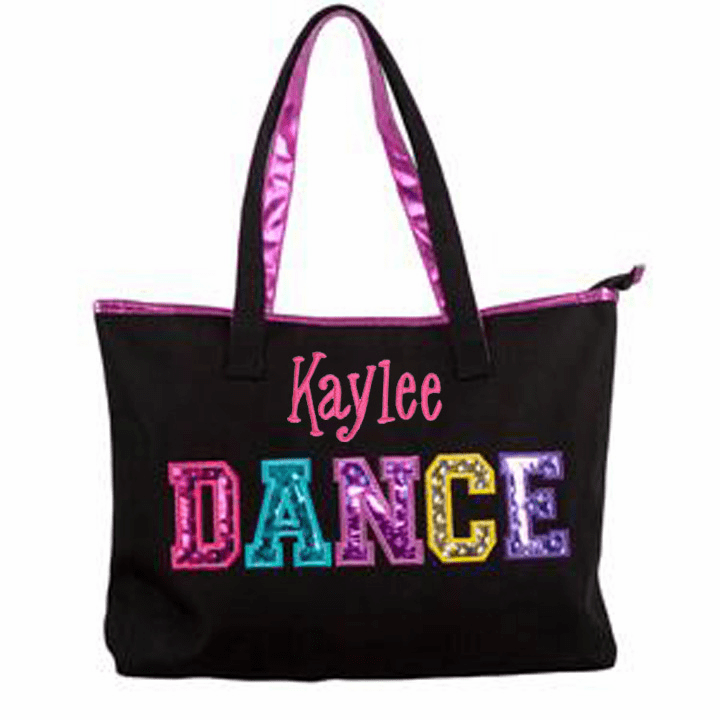Personalized Embroidered Black Multicolored Holographic Dance Tote