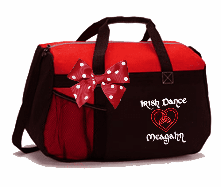 Personalized Embroidered Black & Red Irish Step Dance Duffel Bag w/Bow