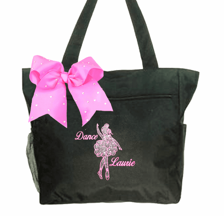 Personalized Embroidered Black Silver Glitter Dancer Tote with Gemstone Bow